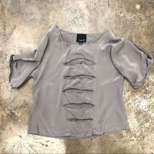 Aryn K Silk Top Grey Cut Out Sequin Batwing Sleeve